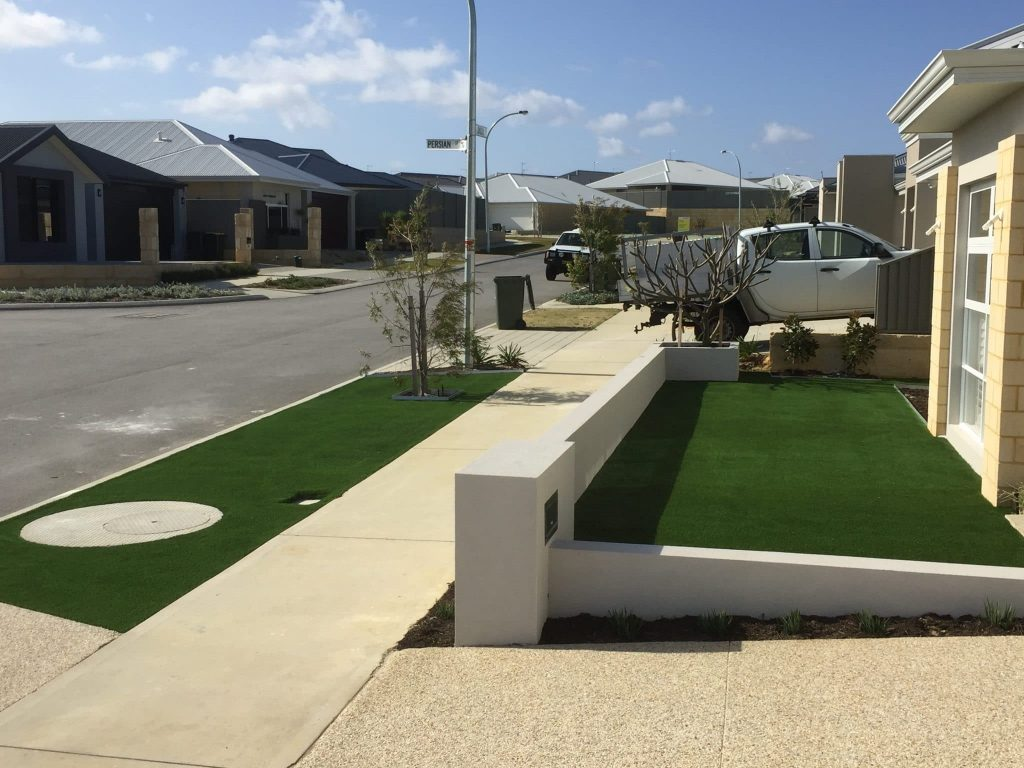 Artificial grass front yard Perth installation
